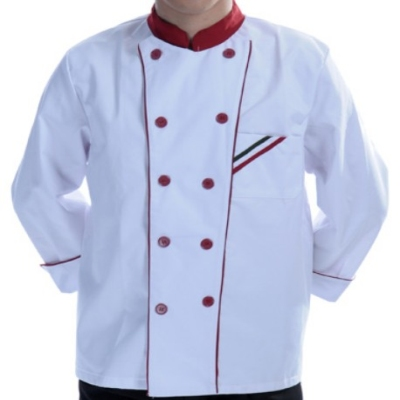 Chef clothing white red black color