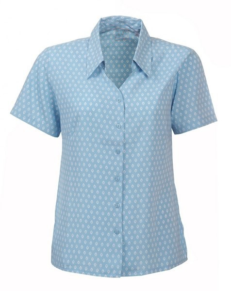Corporate print ladies short sleeve shirt