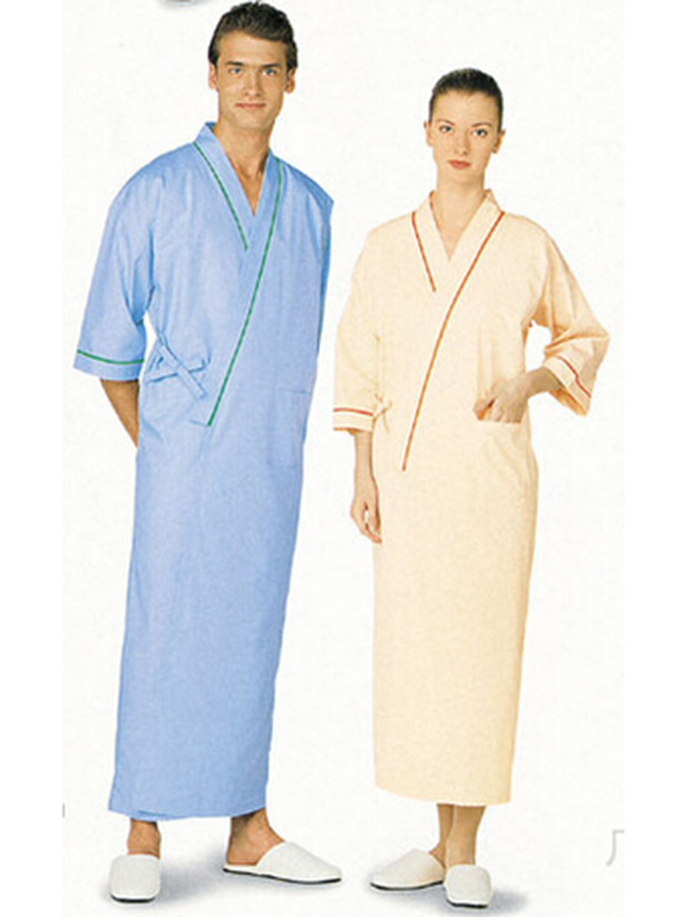 Men and women bevel trim in front and cuff bathrobe