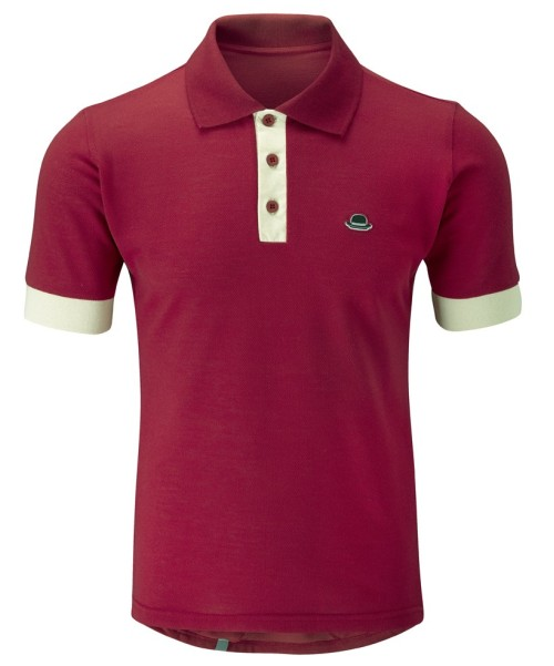 polo shirt with marrow color trim on collar and sleeve cuffs
