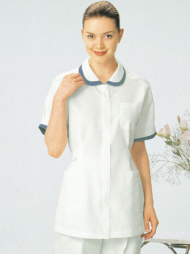 Round collar Nursing dress with width color trim