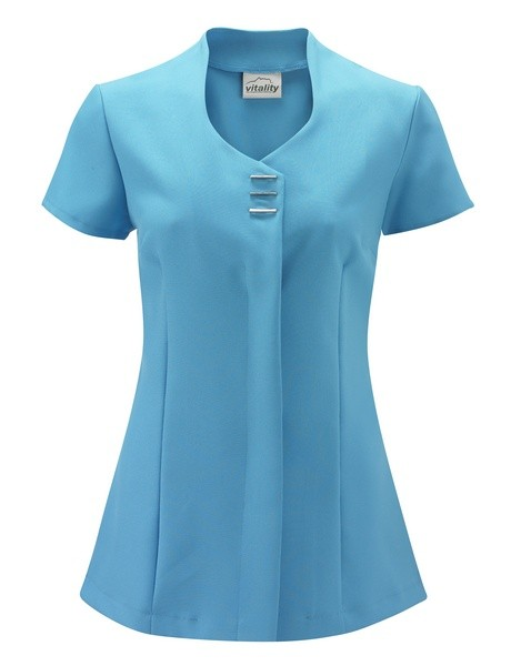 Scoop neck beauty tunic with button