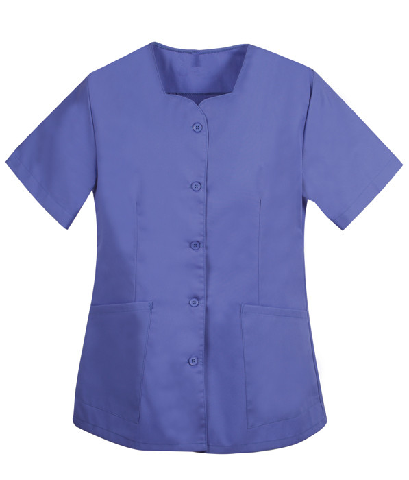Square neckline button scrub top
