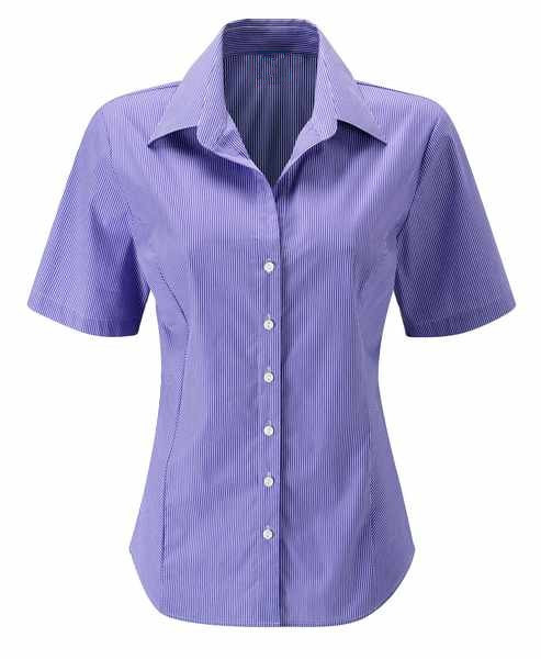 Stripe corporate ladies short sleeve shirt