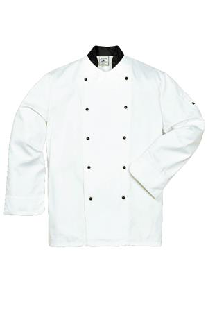 white chef jacket collocation black collar
